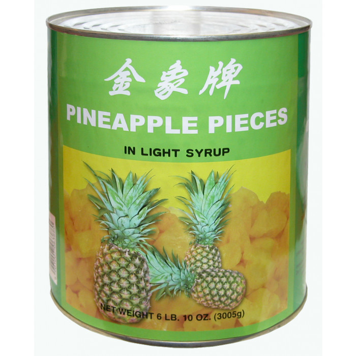 Golden Elephant Pineapple Pieces in Light Syrup 3kg / 金象牌罐头菠萝块 3kg