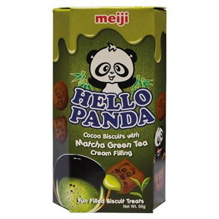 Meiji Hello Panda Cocoa Biscuits with Matcha Green Tea Cream Filling 50g 抹茶味熊仔饼