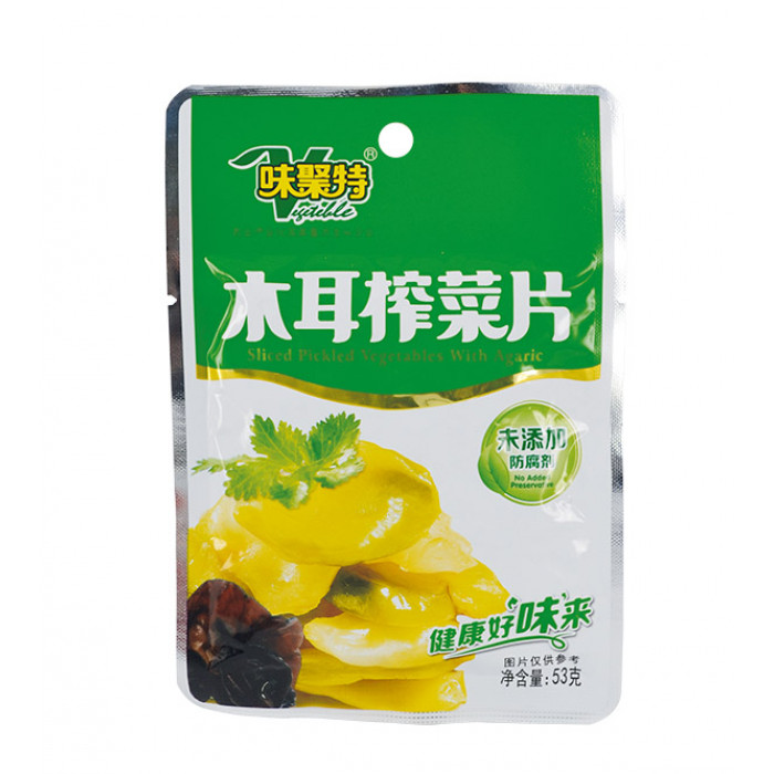 Weijute Sliced Pickled Vegetables With Agaric 53g 味聚特木耳榨菜片