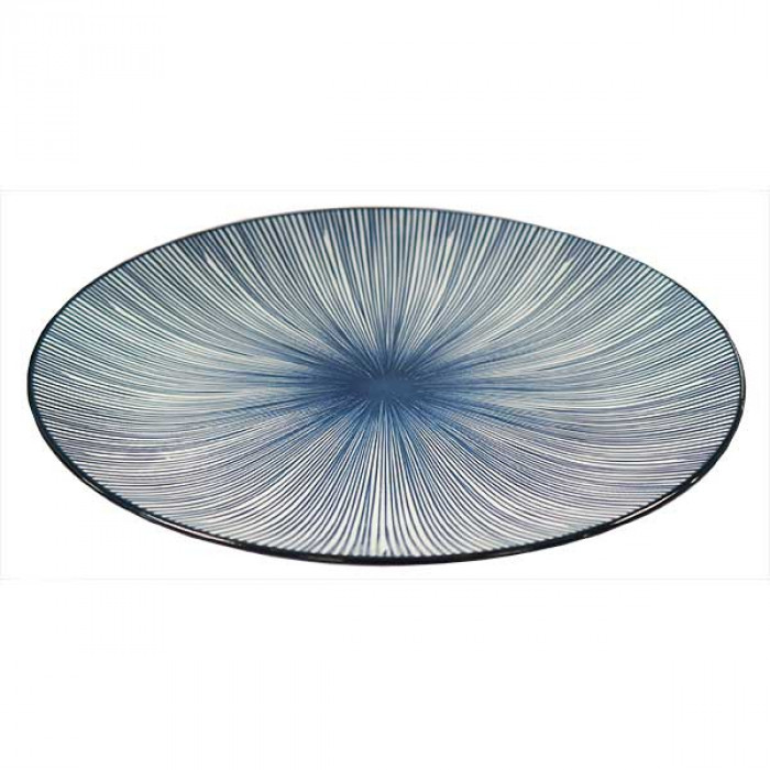Amazing Oriental Kobe Round Plate With Blue Stripes 8'' (20cm) /日式蓝条纹圆碟