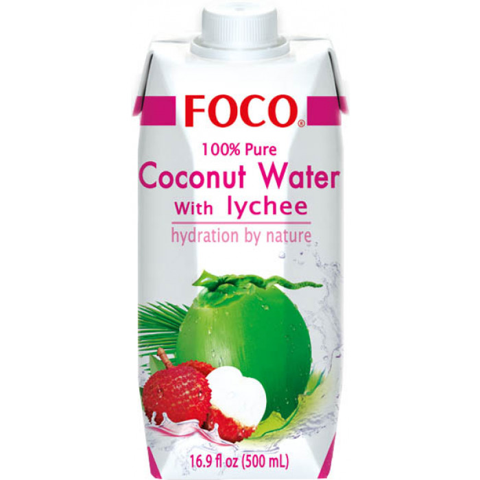 Foco Coconut Water With Lychee 500ml / 福口荔枝椰子水 500ml