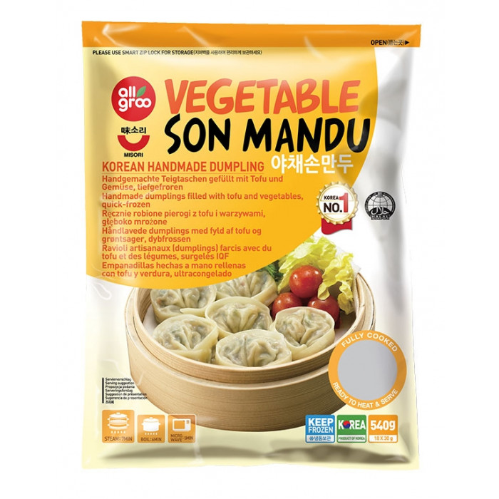 All Groo 韩国手工制蔬菜饺子540g / All Groo Vegetable Son Mandu Korean Handmade Dumpling 540g