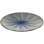 Amazing Oriental Kobe Round Plate With Blue Stripes 6.5'' (16cm)