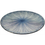 Amazing Oriental Kobe Round Plate With Blue Stripes 9'' (23cm)