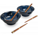 日式海蓝碗筷套装 / Oriental Ramenbowl Set /6 Hana Blue