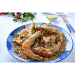 避风塘炒虾 / Crispy Prawns With Stir-Fried Grains