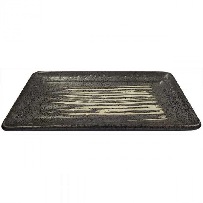 Oriental kyoto square plate black w. White stripes 8'' / 日式白纹方碟 8''