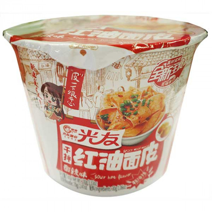 GUANG YOU Instant Wide Noodle Sour&Hot Flav. Bowl 100g / 光友干拌红油面皮酸辣味 100g