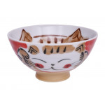 Kawaii Rice Bowl Fuku Cat Red 11.5x6.2cm