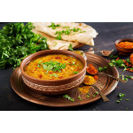 Dal with Naan: Indian Lentil Soup with Flatbread / 纯素印度馕