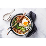 Korean Noodle Soup With Enoki Mushrooms, Bok Choy And Silken Tofu