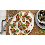 Oven-Baked Stuffed Spicy Mussels
