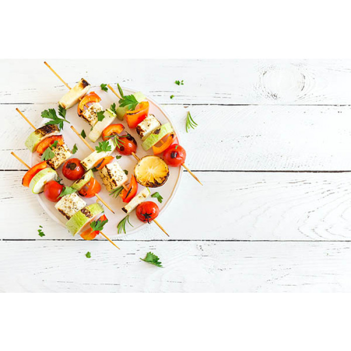 Barbecue Skewers With Spicy Tofu And Vegetables