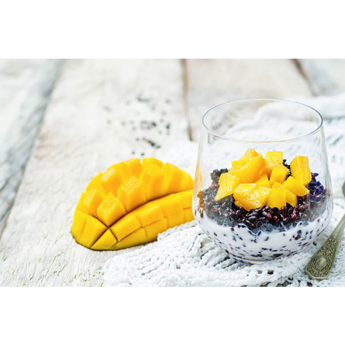 Black Rice Pudding with Mango and Coconut Flakes