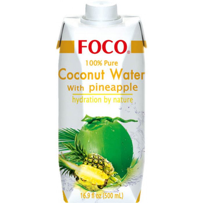 Foco Coconut Water With Pineapple 500ml / 福口菠萝味椰子水 500ml