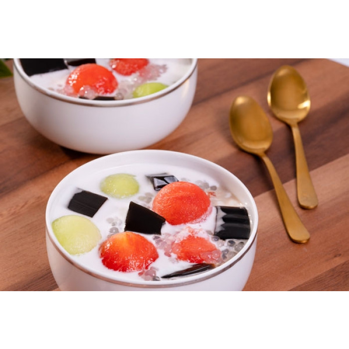 Grass Jelly with Sago and Melon