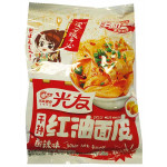 GUANG YOU Instant Wide Noodle Hot& Sour Flavor. 70g / 光友干拌红油面皮酸辣味(袋装) 70g