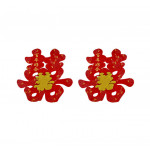 Oriental Double Happiness Wall Decorations 2 pieces 38x33cm / 百年好合烫金喜字贴 2张 38x33厘米