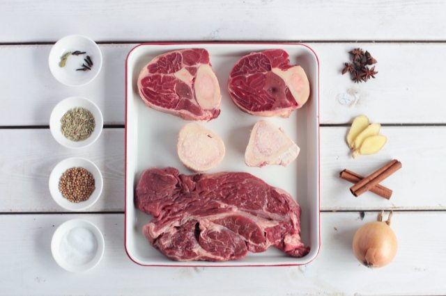Photo of ingredients for a beef broth